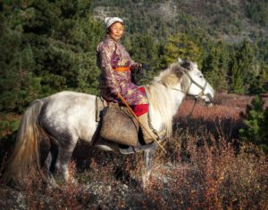 kobieta na koniu mongolia